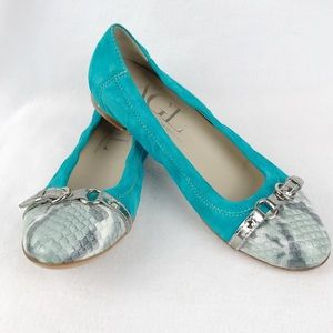 AGL | Women's Turquoise Snakeskin Leather Flats 38